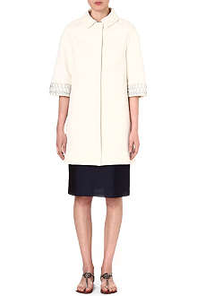 TORY BURCH Embellished cotton-blend coat