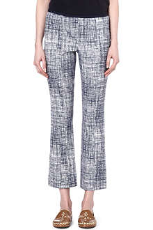 TORY BURCH Kinsley grid-print trousers