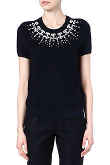 TORY BURCH Embellished knitted top