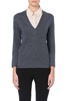 TORY BURCH Lacey detachable-collar wool jumper
