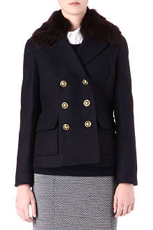 TORY BURCH Faux-fur collar coat