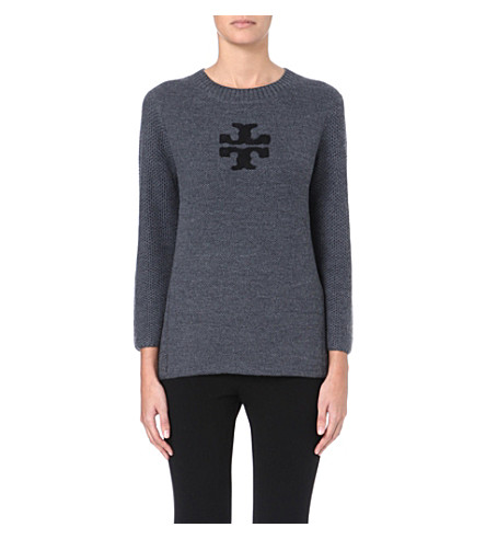 TORY BURCH Janelle logo-detail wool jumper (Charcoal