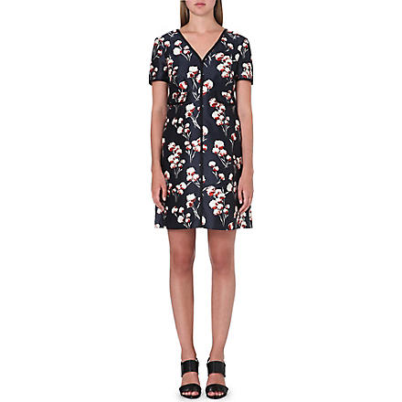 TORY BURCH Kenzie silk dress (Floral/petrol grey
