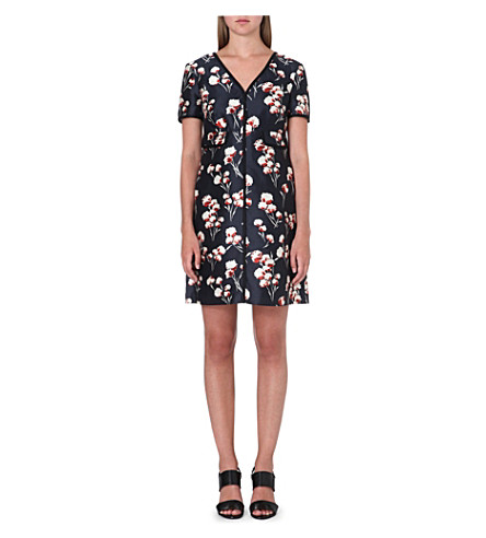 TORY BURCH Kenzie silk dress (Floral/petrol grey