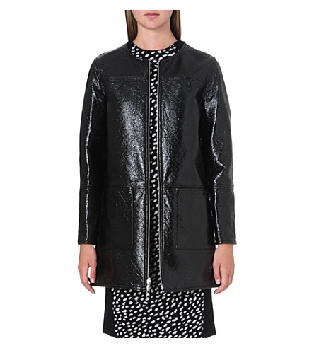 TORY BURCH Jade reversible patent coat (Black