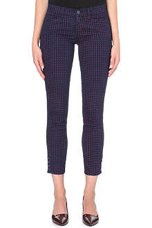 TORY BURCH Printed skinny stretch-cotton trousers