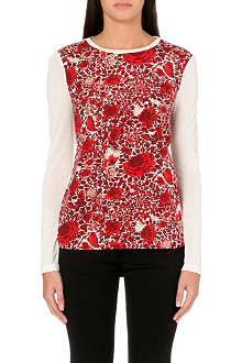 TORY BURCH Rose-print stretch-silk jersey top