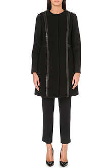 TORY BURCH Heather leather-trim coat