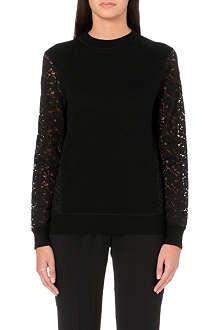 TORY BURCH Wool lace sleeve jumper