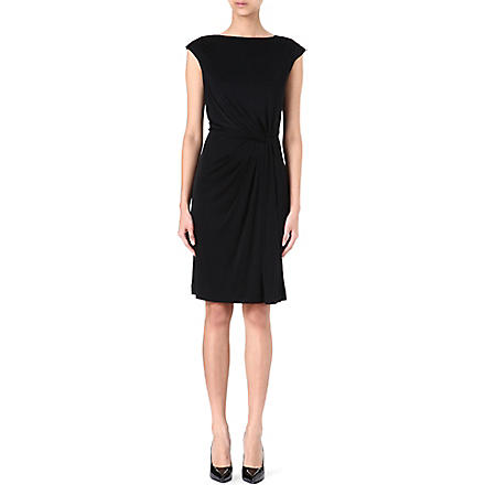 TORY BURCH Silk ruched-waist dress (Black
