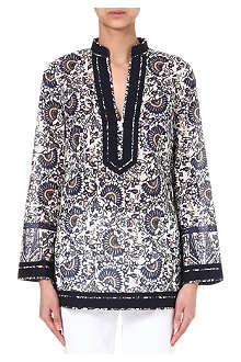 TORY BURCH Voile-print tunic top