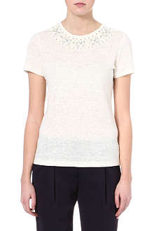 TORY BURCH Savannah embellished linen top