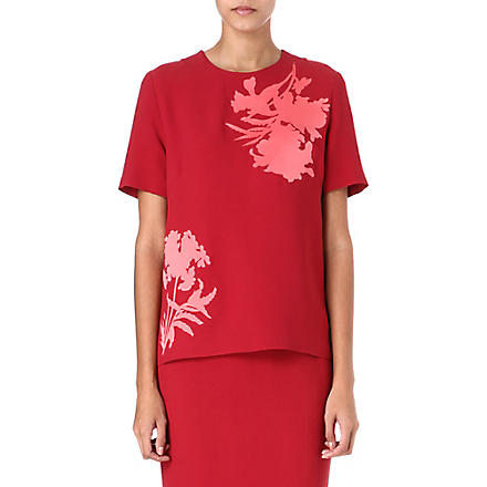 JONATHAN SAUNDERS Floral-print crepe top (Dark red/pink