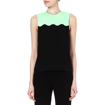 JONATHAN SAUNDERS Scallop-detail top (Blk+/+mint