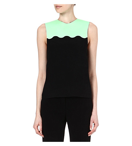 JONATHAN SAUNDERS Scallop-detail top (Blk / mint