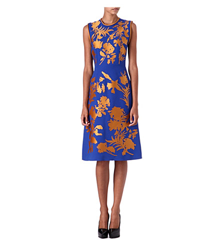 JONATHAN SAUNDERS Alinford floral-appliqué dress (Blue/golden