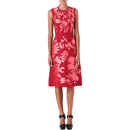 JONATHAN SAUNDERS Alinford floral-appliqué dress (Dark red/pink flower