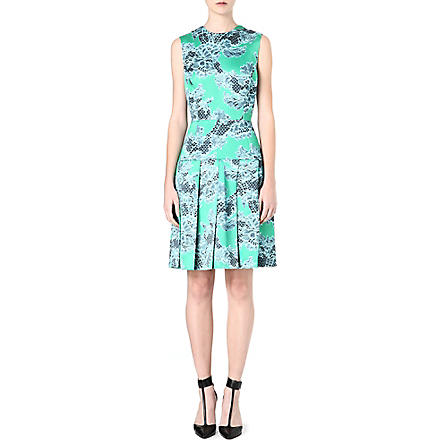 JONATHAN SAUNDERS Lace-print pleated dress (Aqua/jade