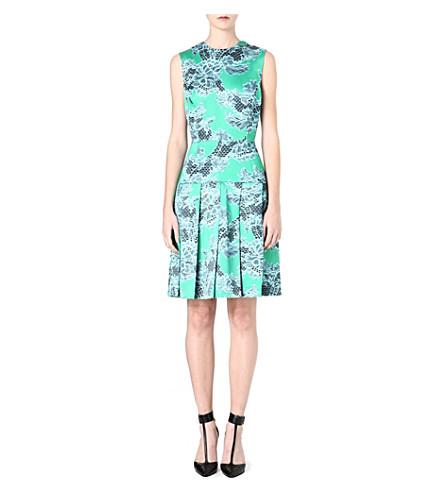 JONATHAN SAUNDERS Lace-print pleated dress (Aqua/jade