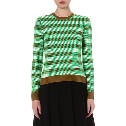 JONATHAN SAUNDERS Striped knitted jumper (Fl grn / fl flint / moss