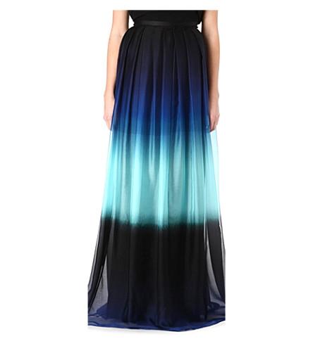 JONATHAN SAUNDERS Ombre silk maxi skirt (Ombre aqua/blue/black
