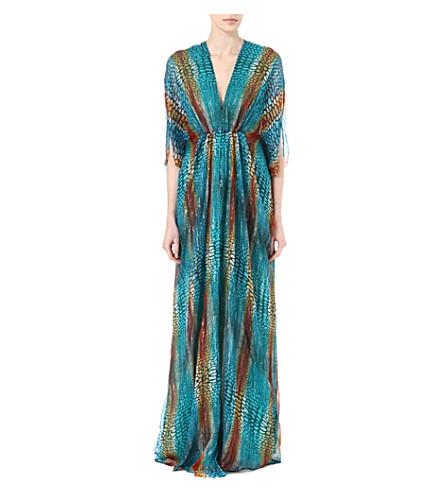 ISSA Printed metallic kaftan (Turquoise