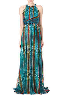 ISSA Printed metallic chiffon dress