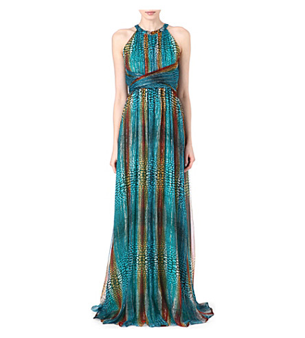 ISSA Printed metallic chiffon dress (Turquoise