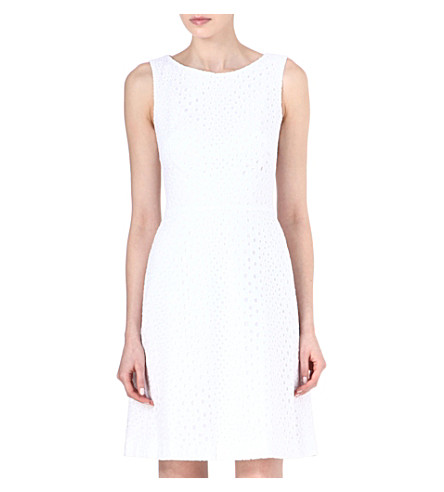 ISSA Broderie anglaise fitted dress (White