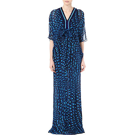 ISSA Embellished neckline kaftan dress (Navy