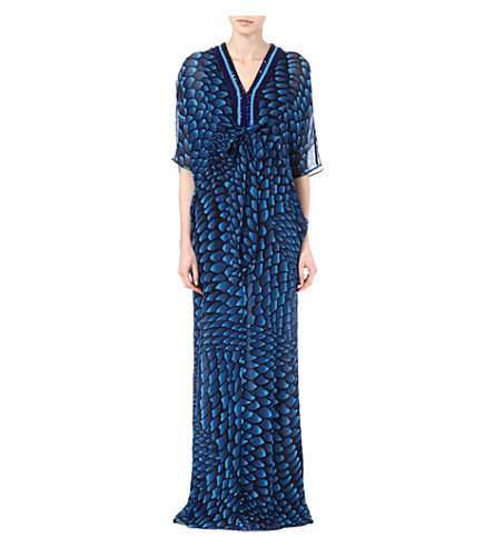 ISSA Embellished neckline kaftan dress (Navy