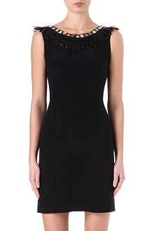 ISSA Embellished neckline silk dress