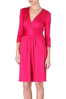 ISSA Ruched silk-jersey dress