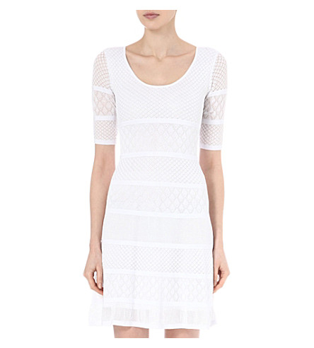 ISSA Patterned knitted dress (White