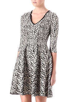 ISSA V-neck abstract-print dress