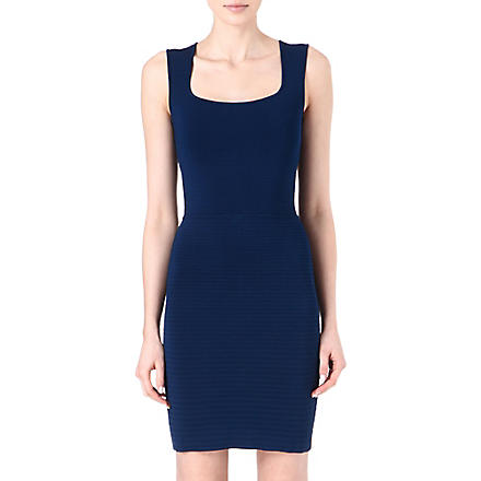 ISSA Sequin-embellished ribbed dress (Navy