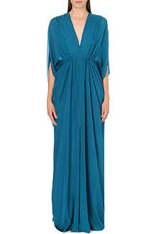 ISSA Draped silk kaftan dress