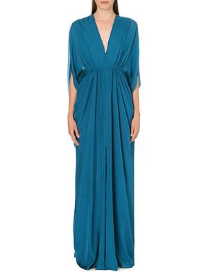 ISSA Draped silk kaftan dress