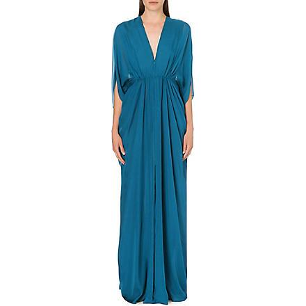 ISSA Draped silk kaftan dress (Blue