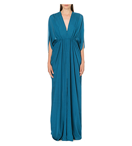 ISSA Draped silk kaftan dress (Blue