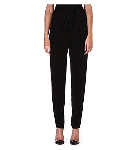 ISSA Ivy wrap-front trousers (Black