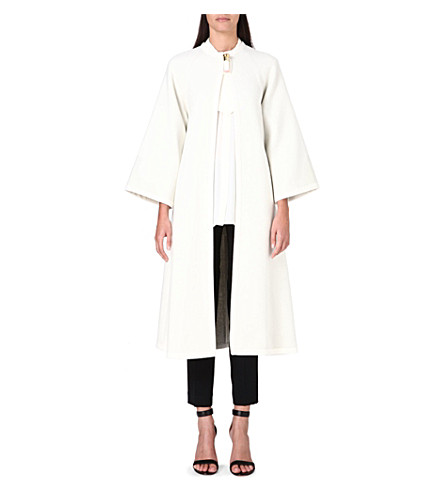ISSA Joan wool-blend cape (Cream