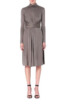 ISSA Matilda turtleneck silk-blend dress