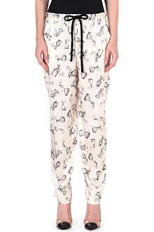 ISSA Nina printed silk trousers