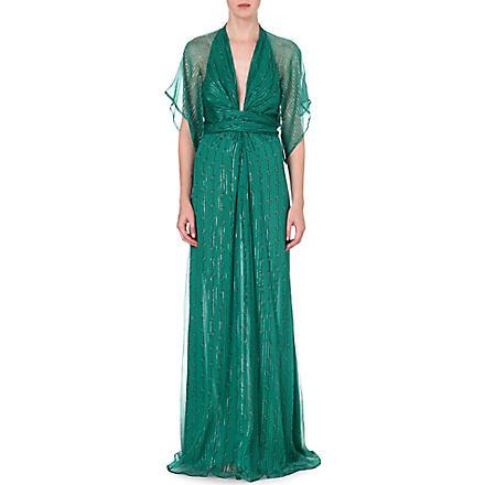 ISSA Pollyanna silk-blend gown (Green