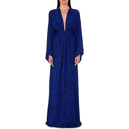 ISSA Poppy silk kaftan (Blue