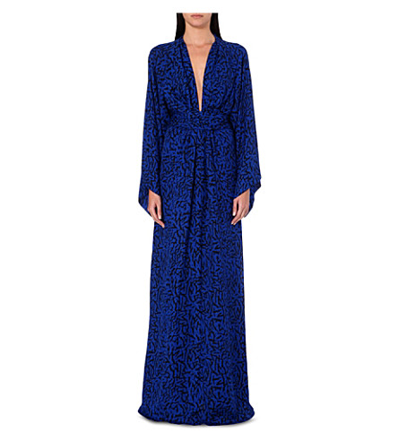 ISSA Poppy silk kaftan (Blue