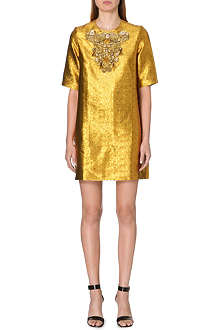 ISSA Embellished metallic-jacquard dress