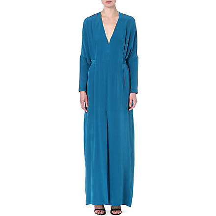 ISSA Waist tie kaftan dress (Blue