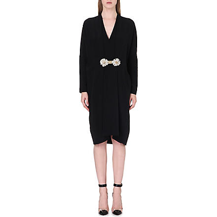 ISSA Shirley daisy-belt silk dress (Black